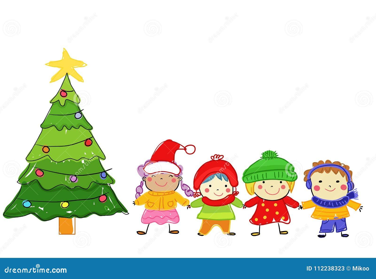 Gruppo di bambini sull inverno