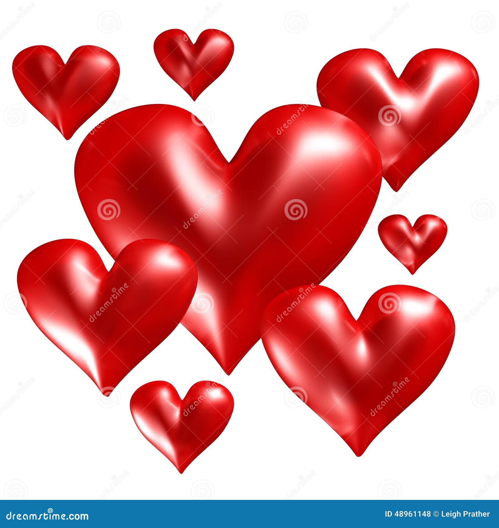 Gruppo di cuori rossi illustrazione di stock for Immagini di cuori rossi