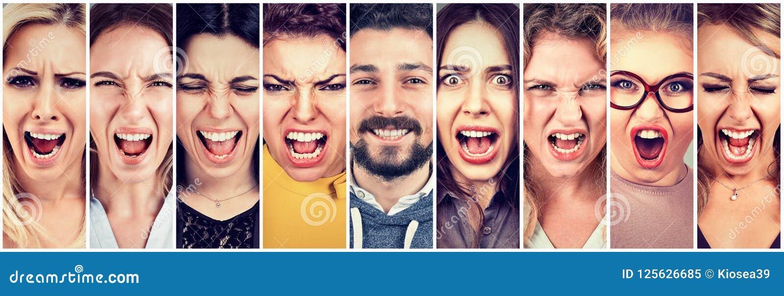 Gruppo di donne arrabbiate sollecitate frustrate e di uomo sorridente felice della barba