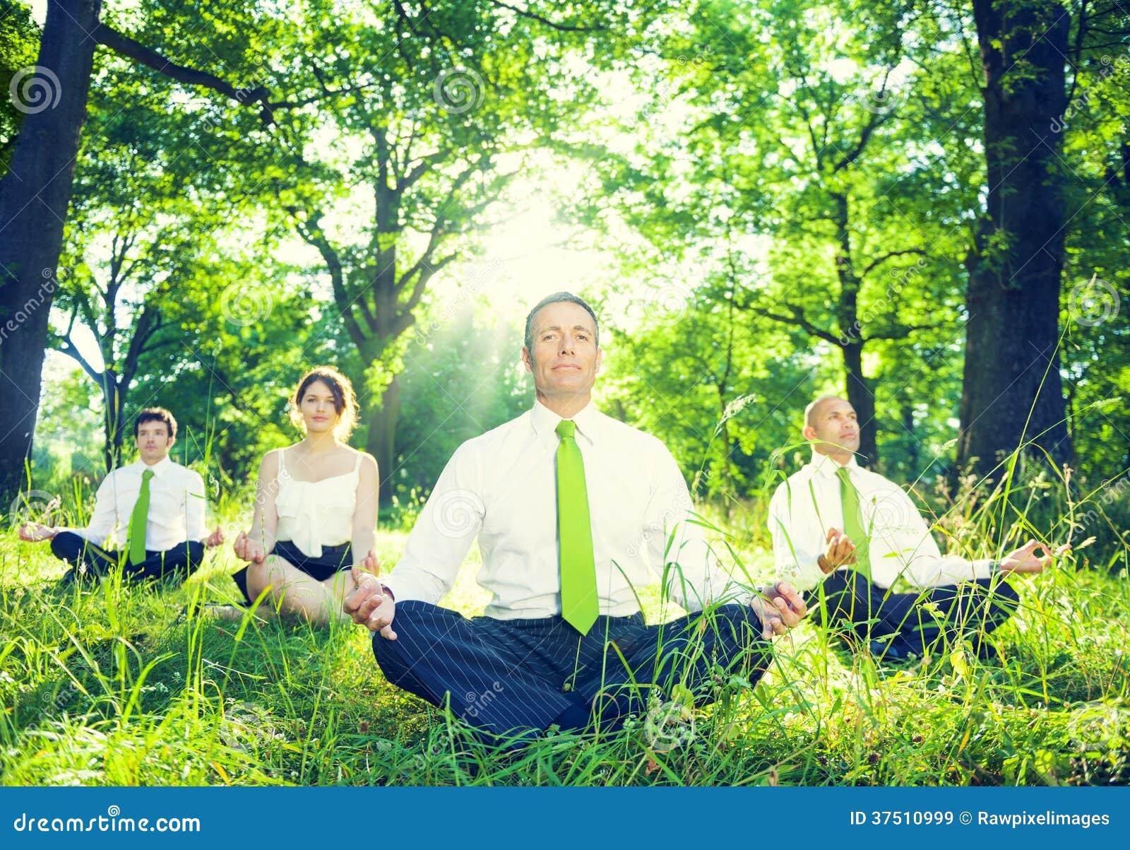 Gruppo di gente di affari verde meditare