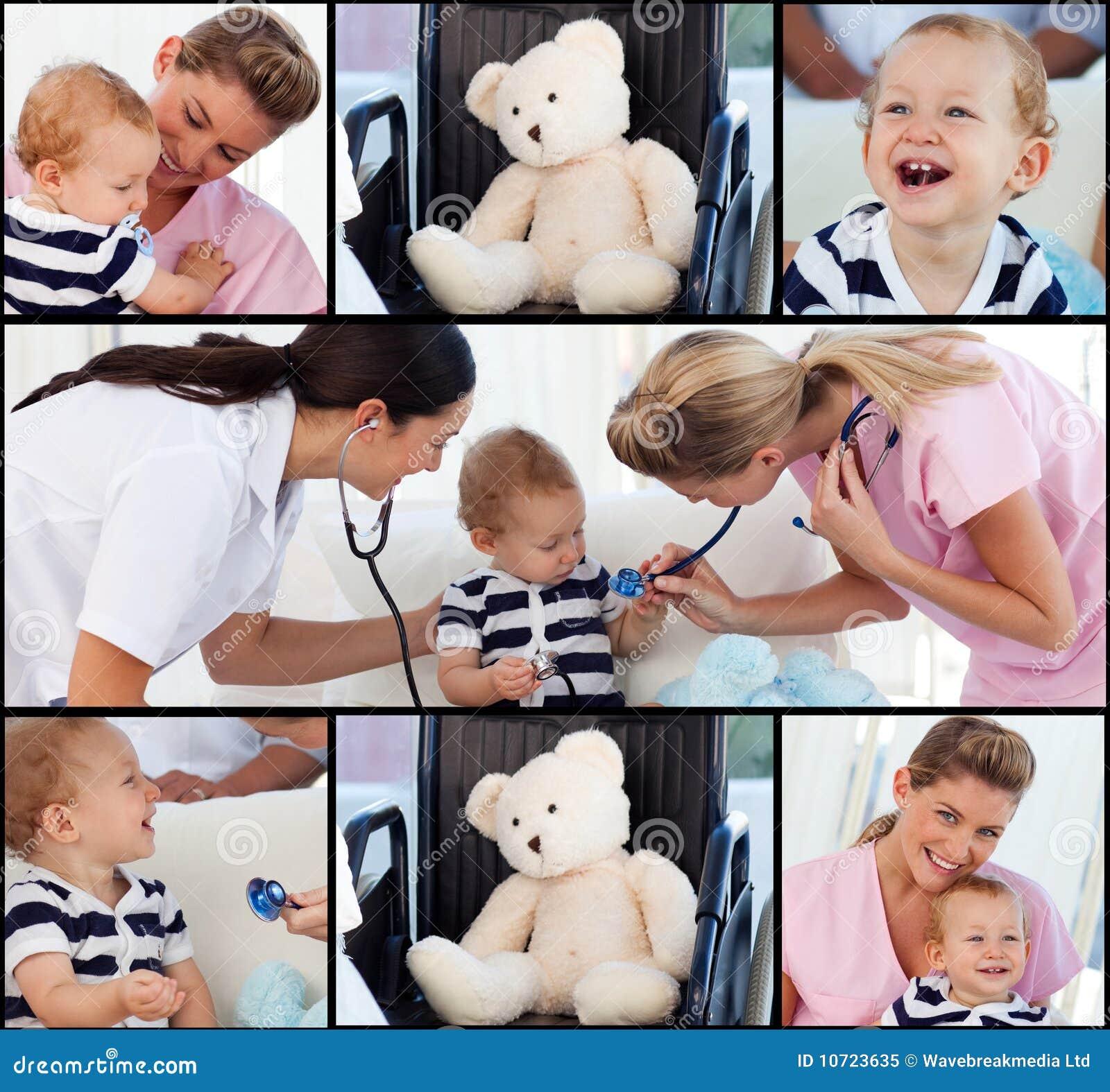 Gruppo di medici che presente ad un bambino