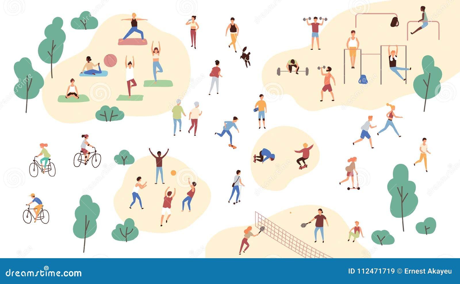Gruppo di persone che eseguono le attività al parco - fare di sport gli esercizi di ginnastica e di yoga, pareggiando, biciclette
