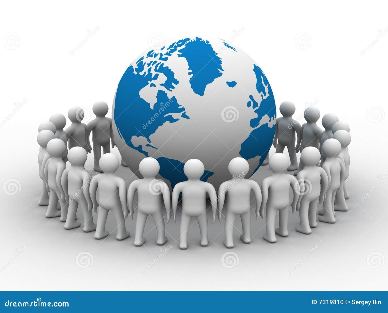 Gruppo di persone che si levano in piedi globo rotondo.