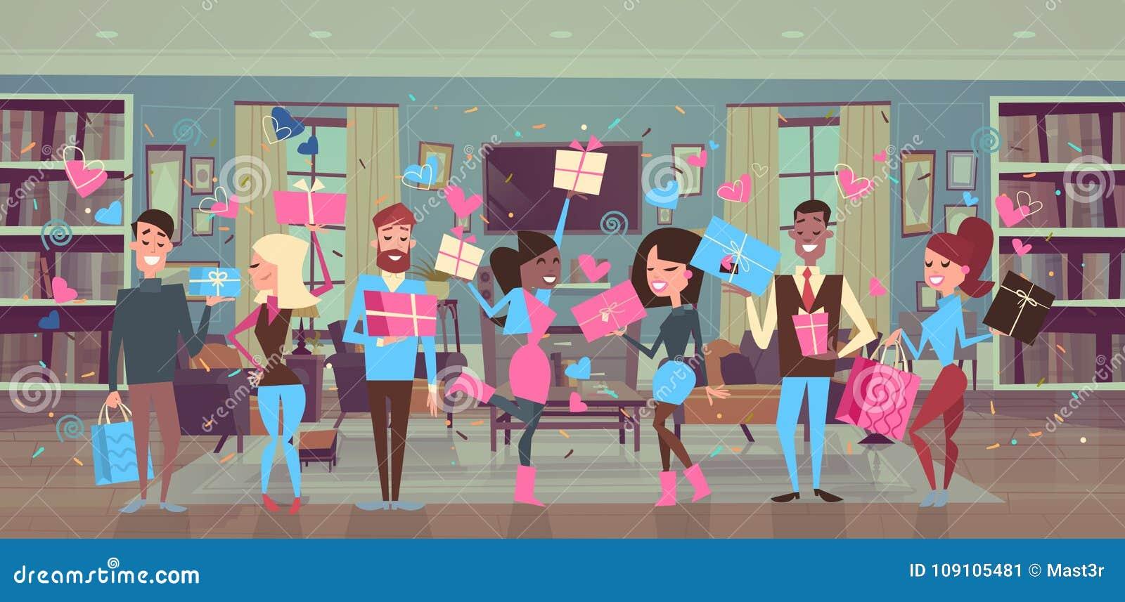 Gruppo di persone che tengono i contenitori di regalo sopra la celebrazione del partito di giorno degli uomini di forme del cuore