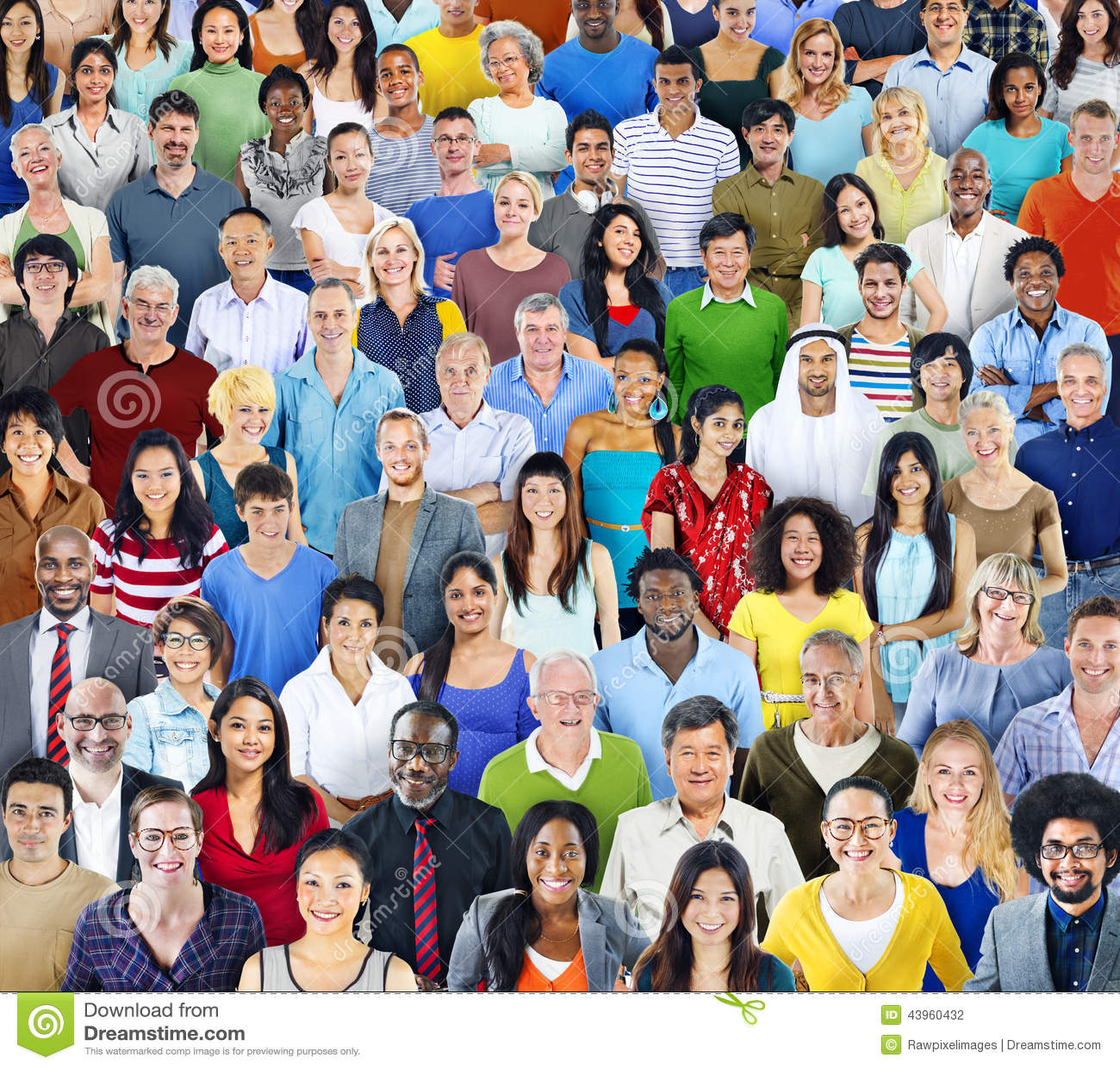Gruppo di persone multietnico con l attrezzatura variopinta