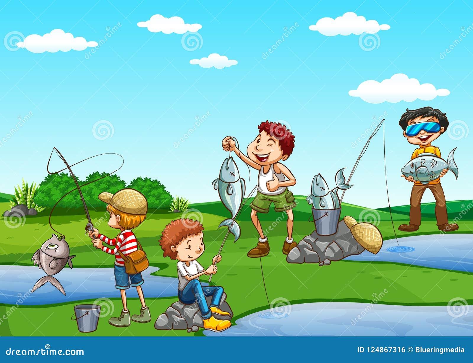 Gruppo di pesca dei ragazzi