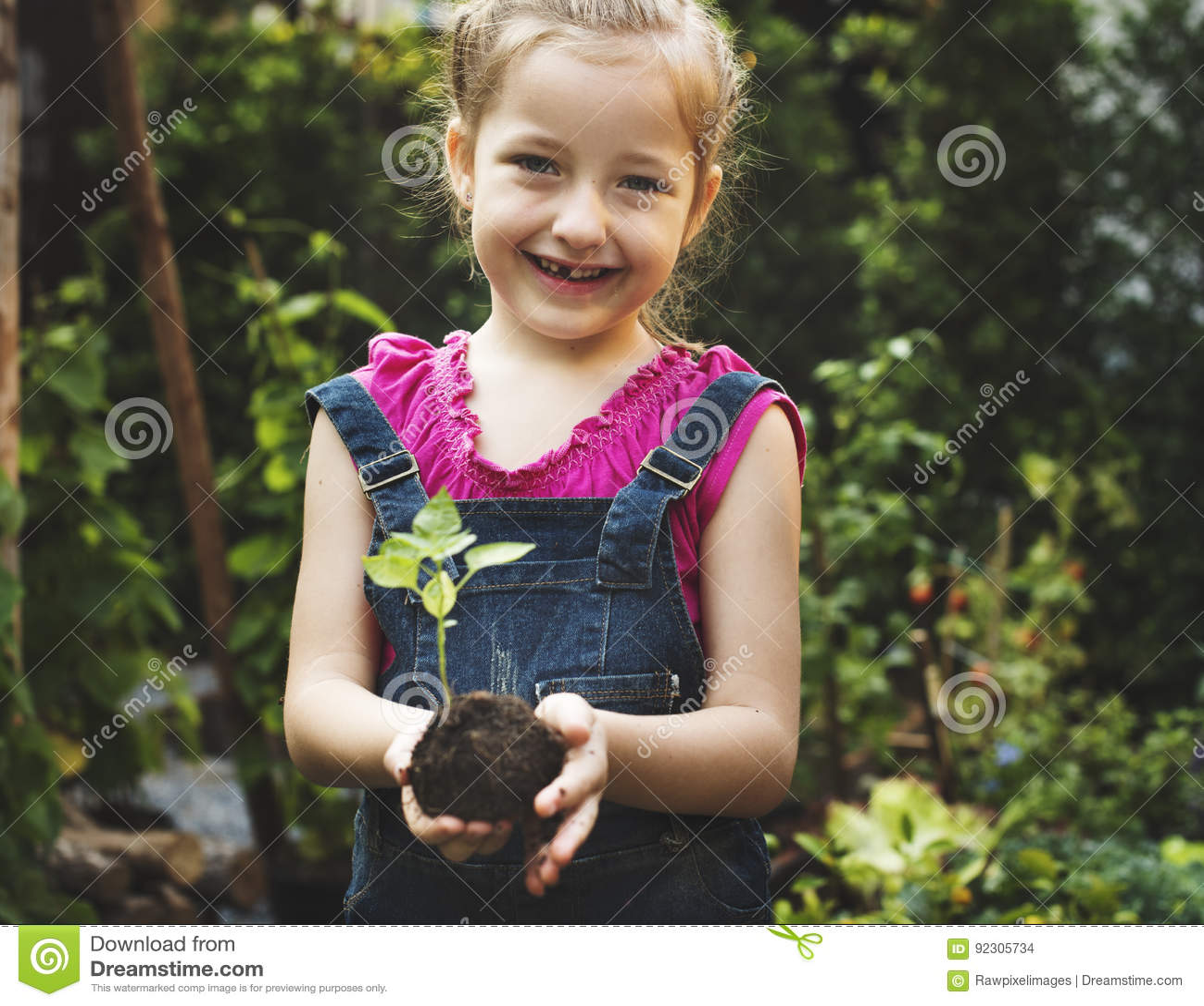 Gruppo di piantatura ambientale delle mani dei bambini di conservazione