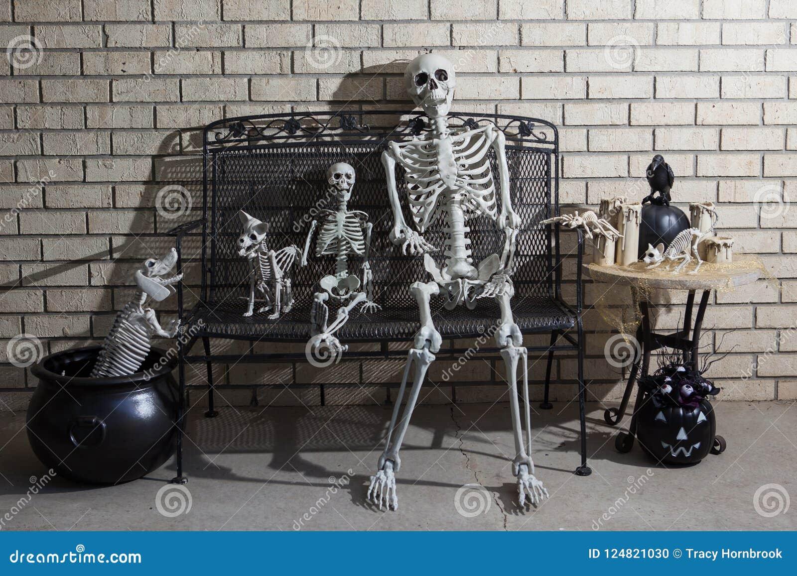 Gruppo di scheletri di halloween con illuminazione drammatica dell