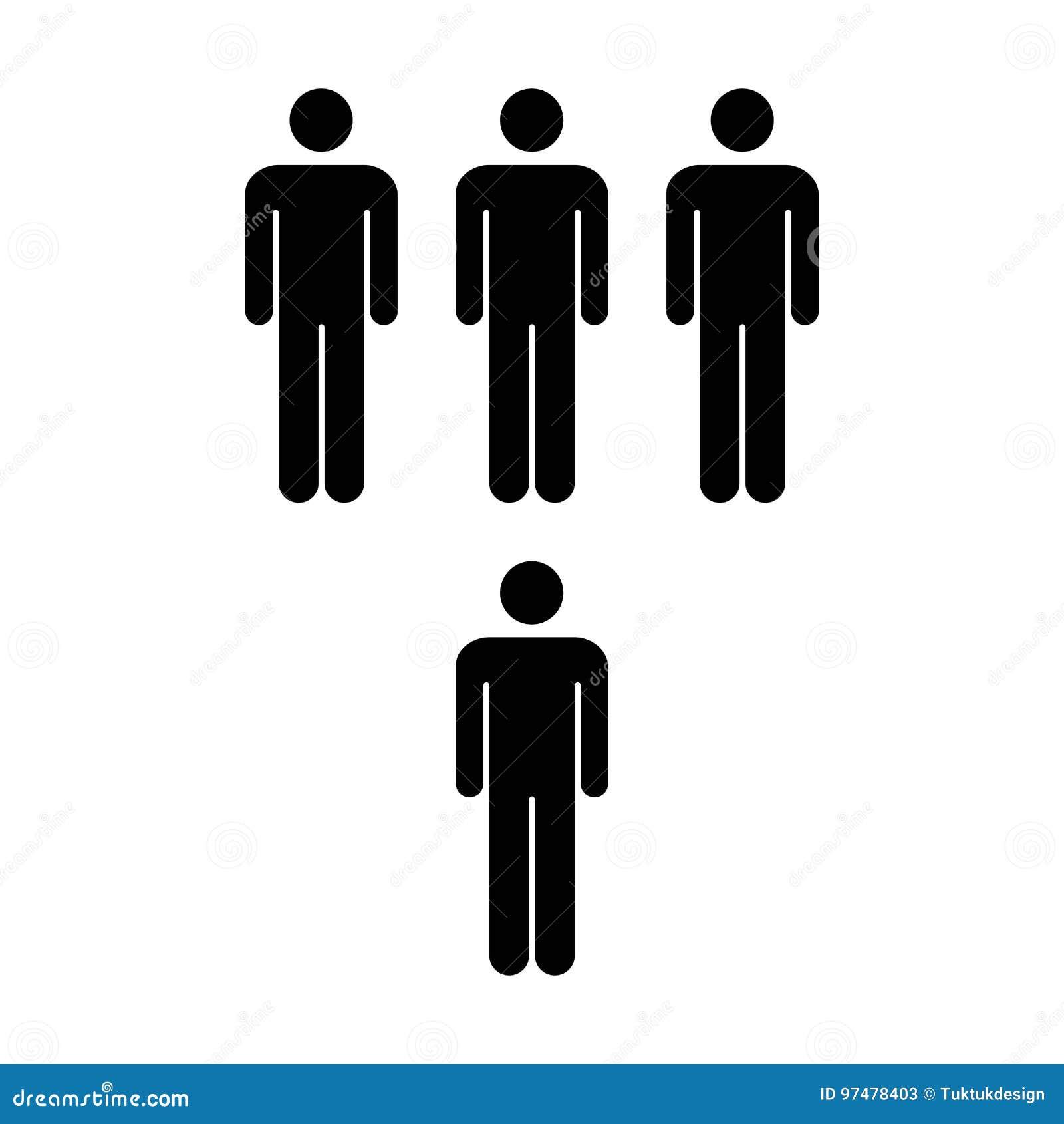 Gruppo di vettore dell icona della gente di illustrazione di Team Symbol Pictogram degli uomini