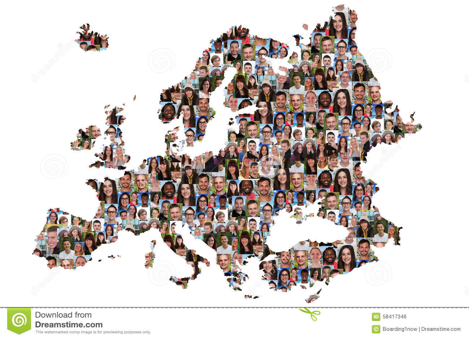 Gruppo multiculturale della mappa di Europa di operatore subacqueo di integrazione dei giovani