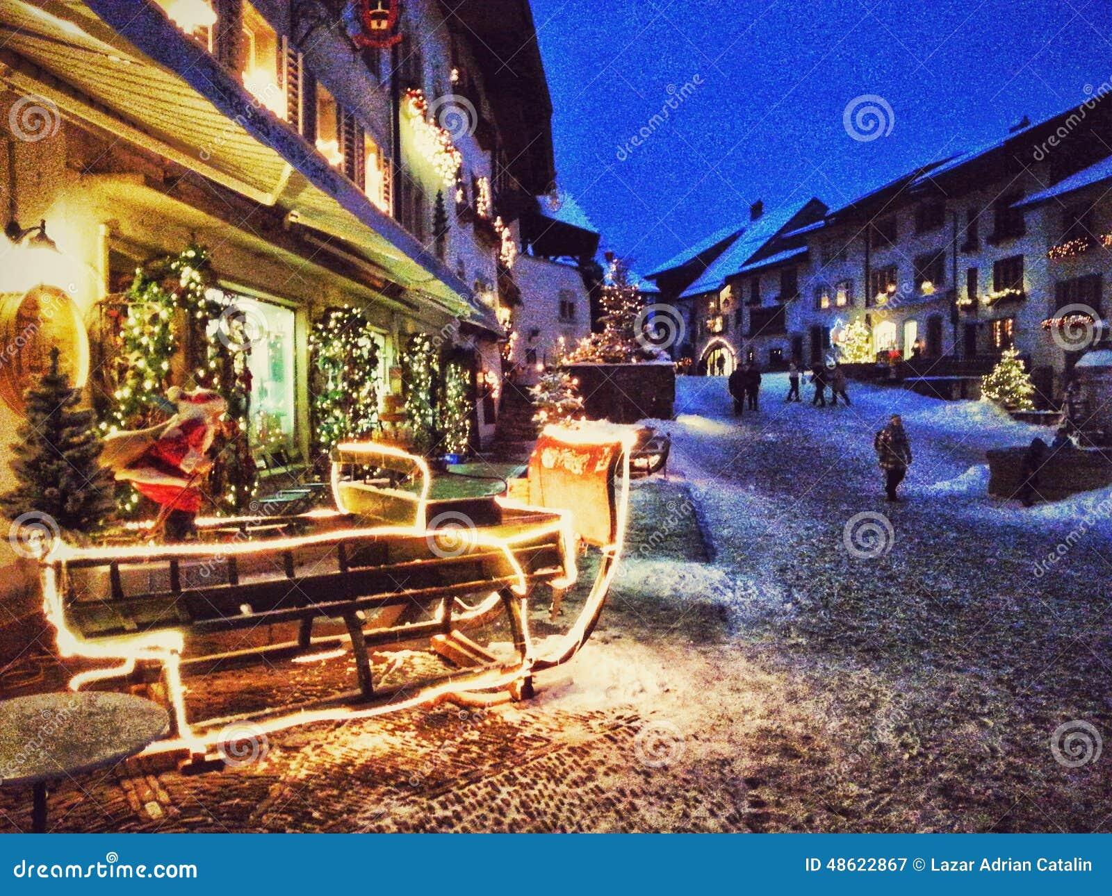 #173AB4 Gruyere Village Switzerland Stock Photo Image: 48622867 5545 decorations noel geneve 1300x1065 px @ aertt.com