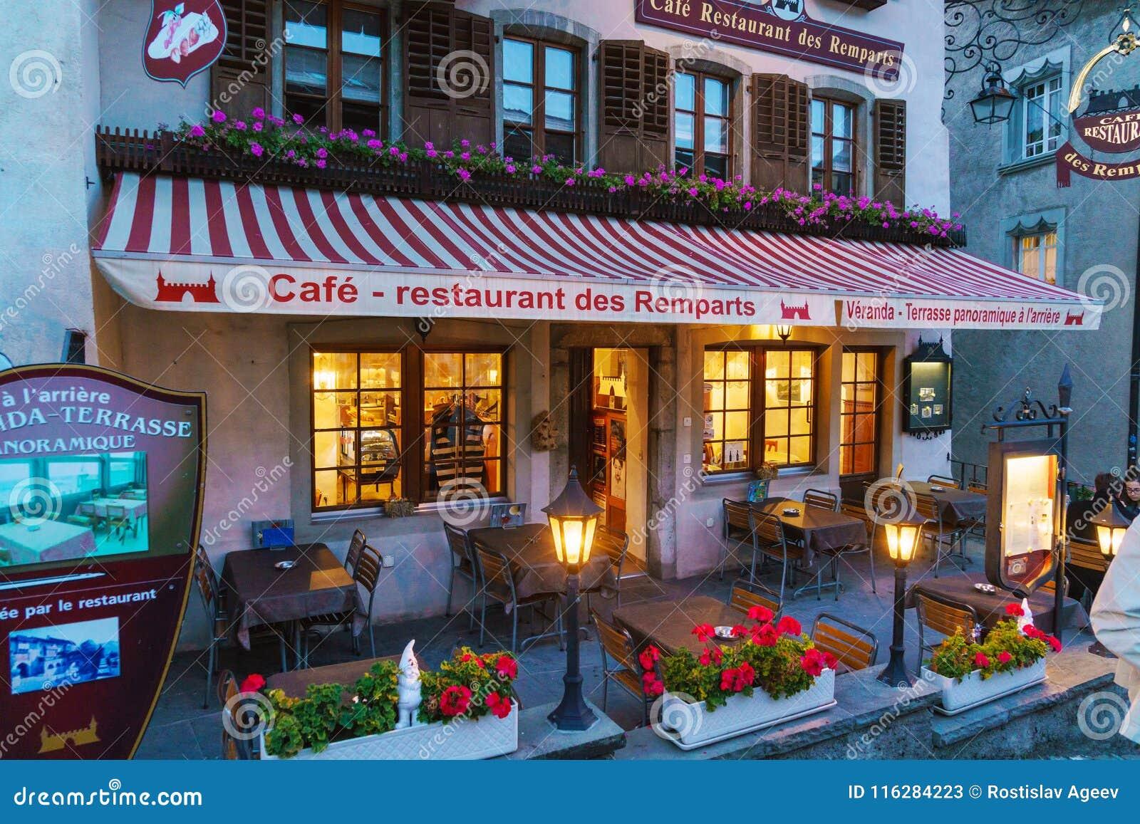 Gruyeres Switzerland October 18 2017 Restaurants And