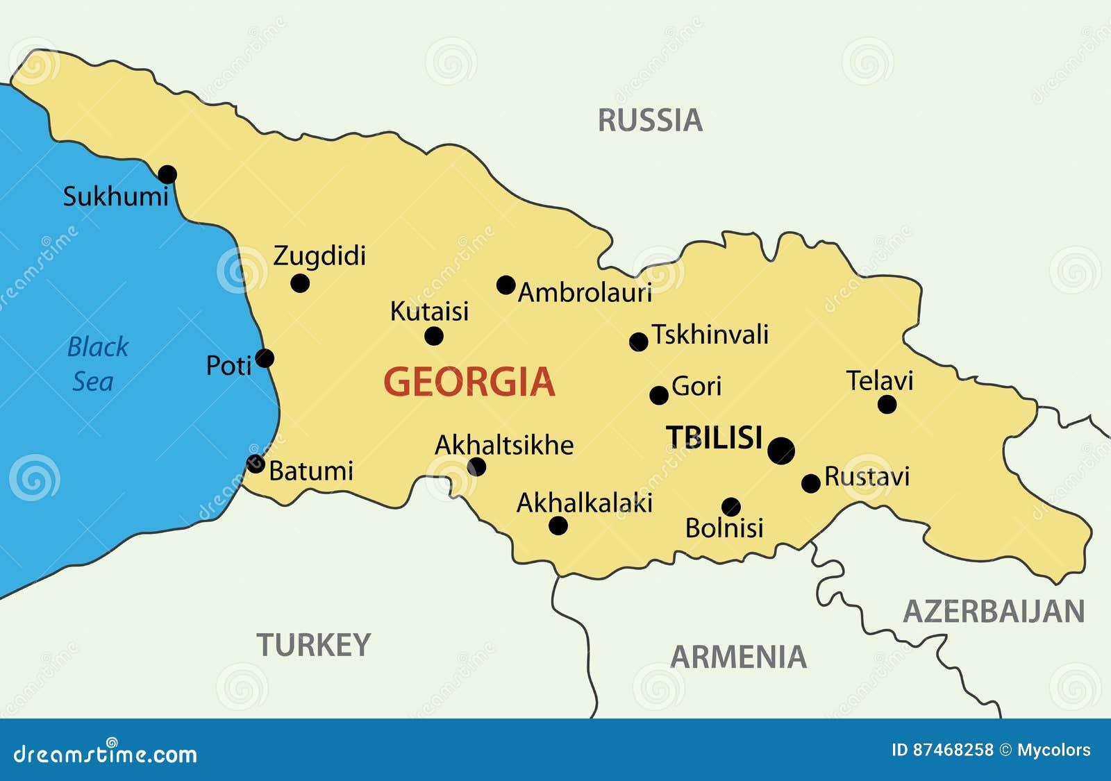 Gruzja Kraj Wektorowa Mapa Ilustracja Wektor Ilustracja