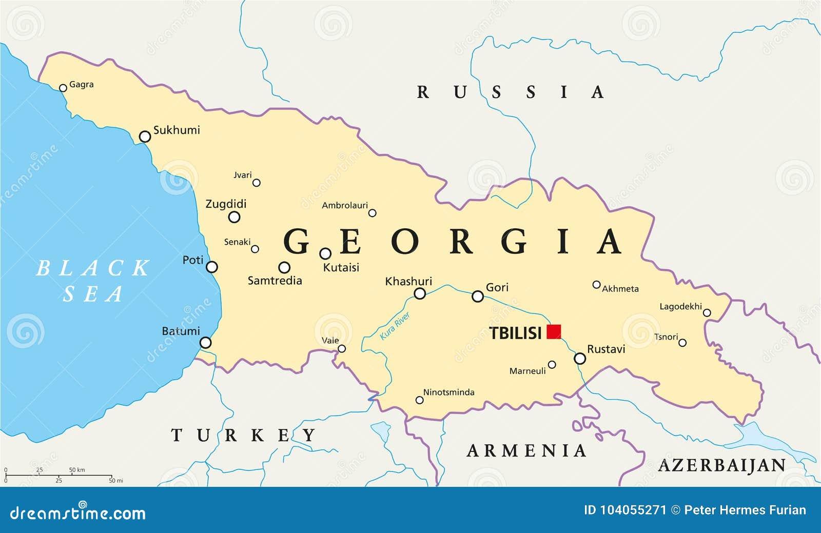 Gruzja Polityczna Mapa Ilustracja Wektor Ilustracja Zlozonej Z