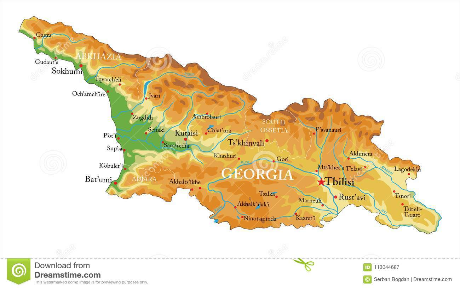 Gruzja Reliefowa Mapa Ilustracja Wektor Ilustracja Zlozonej Z