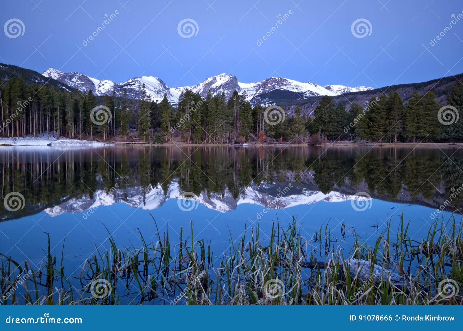 Gry Pre bilden av den kontinentala skiljelinjen och en Sprague Lake refl