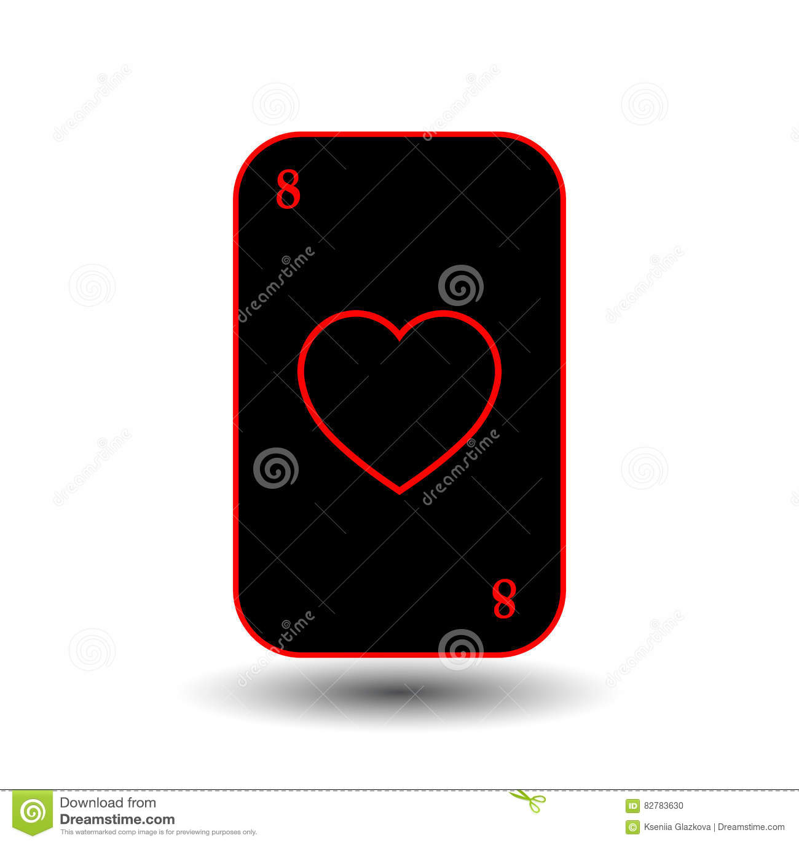 Grzebak karta OSIEM CZARNY serce oddzielny biały tło
