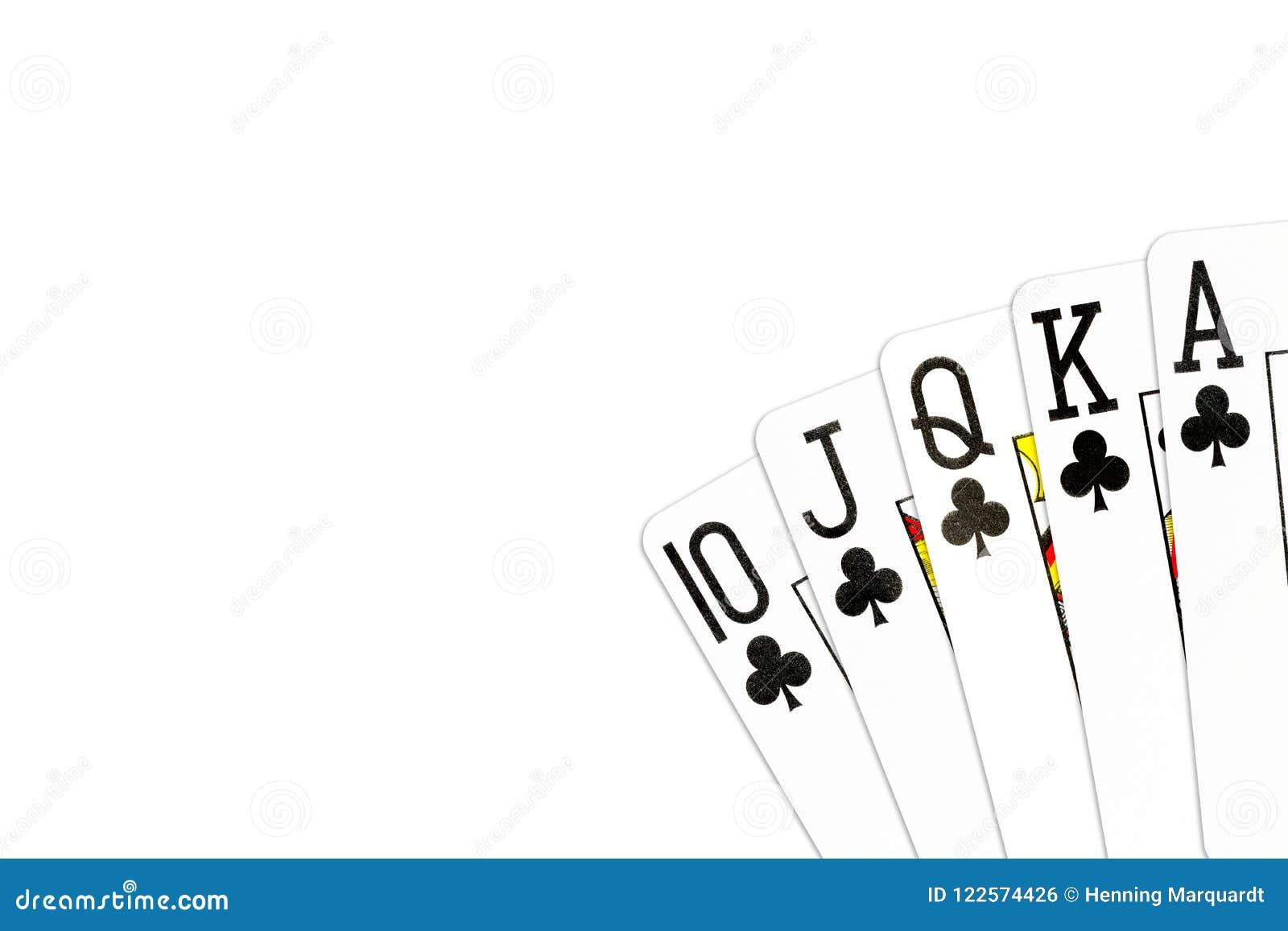 Grzebak ręki królewski sekwens w klubach odizolowywających na białym tle