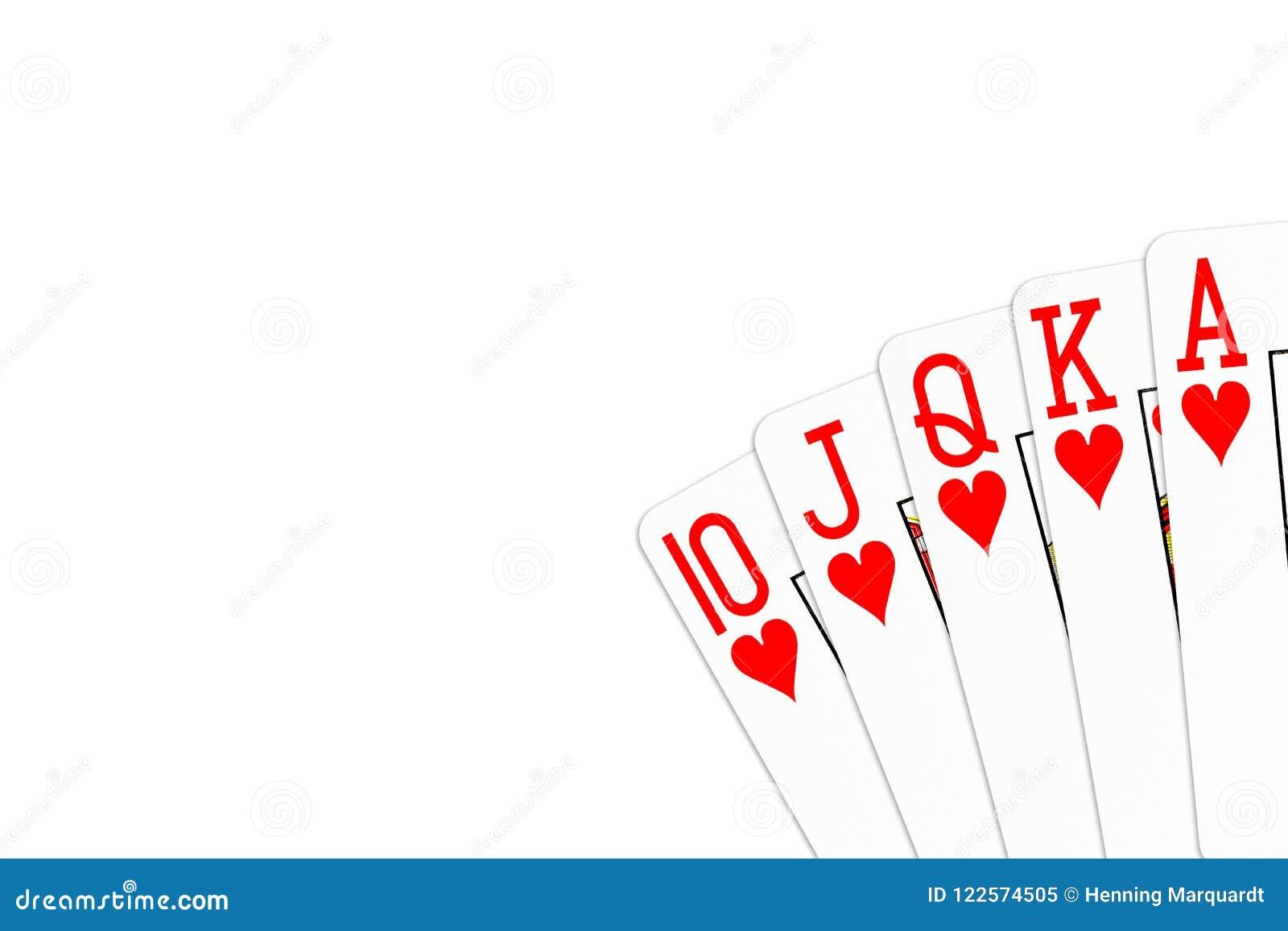 Grzebak ręki królewski sekwens w sercach odizolowywających na białym tle