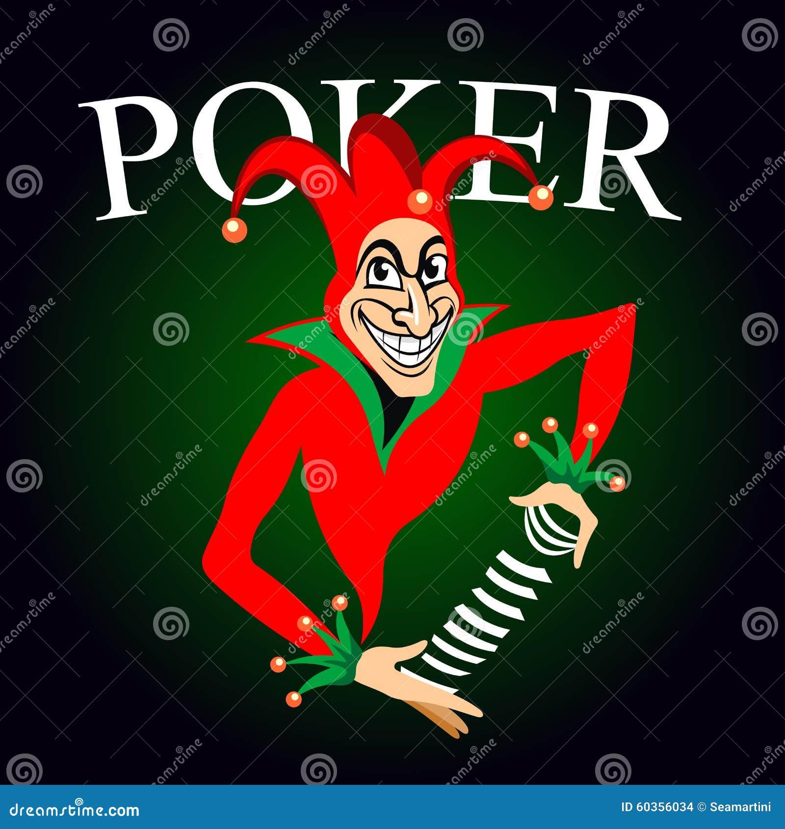 Grzebaka Emblemat Z Jokerem I Karta Do Gry Ilustracja Wektor