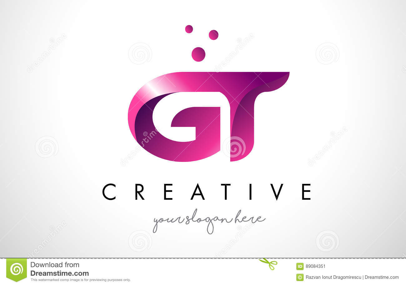GT Letter Logo Design With Purple Colors And Dots Stock Vector ...
