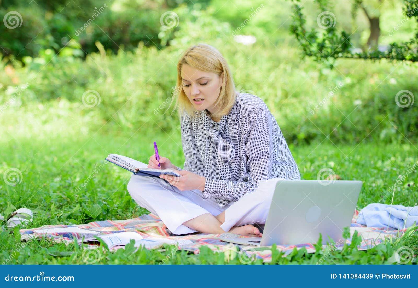 Guía que comienza carrera independiente Trabajo independiente de la señora del negocio al aire libre Freelancer acertado converti