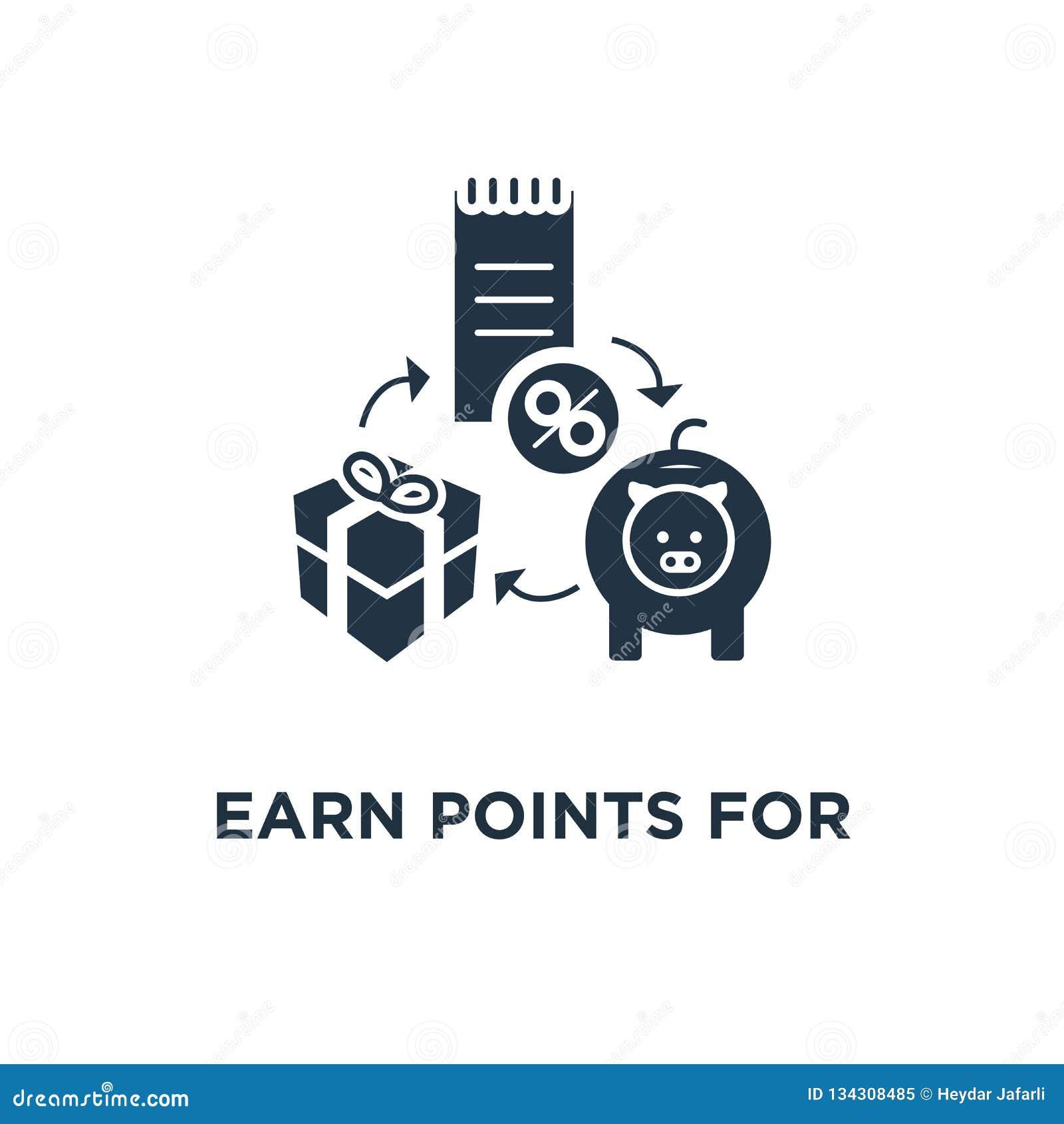 Guadagni i punti per l icona dell acquisto la progettazione, i contanti indietro, la vendita e la promozione di simbolo di concet
