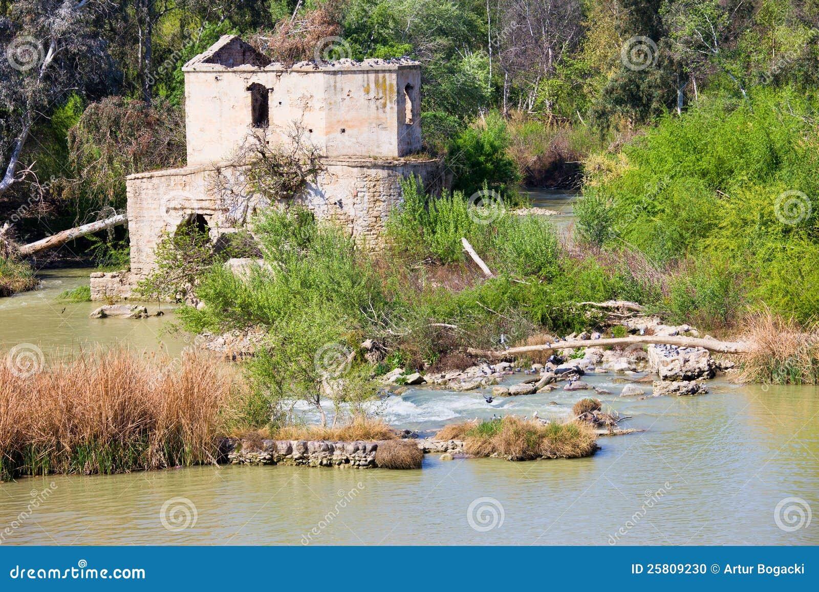 Guadalquivir河废墟在科多巴