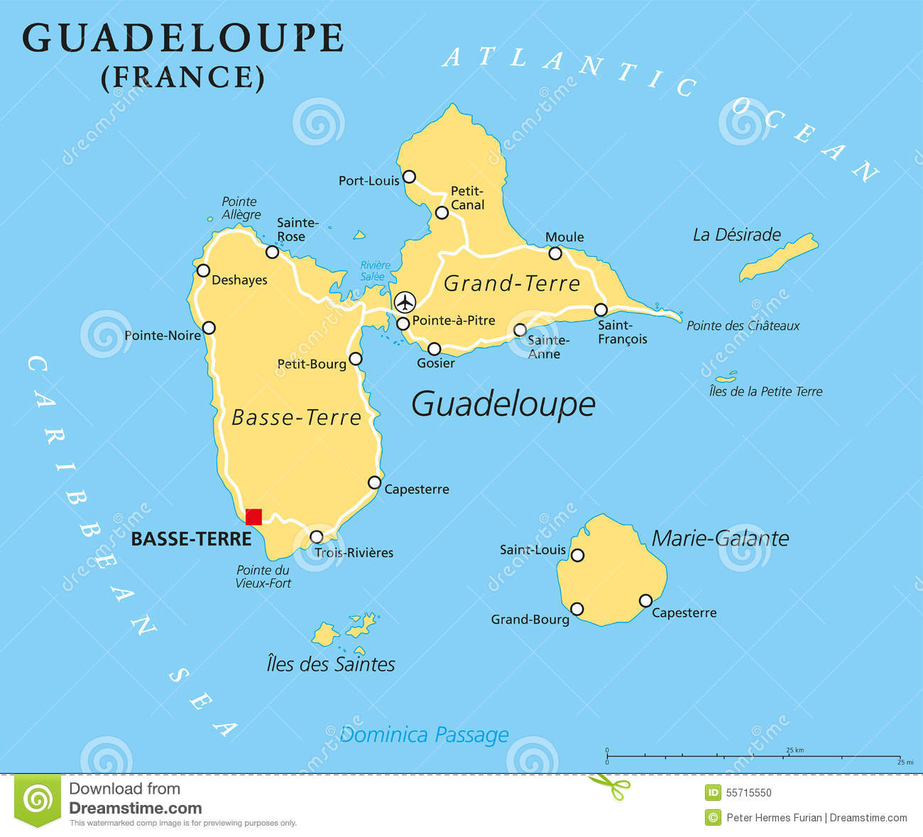 Guadeloupe Political Map stock vector. Illustration of cruise
