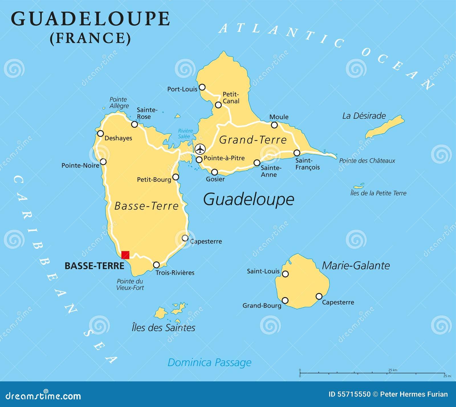 Guadeloupe Politisk Oversikt Vektor Illustrationer Illustration