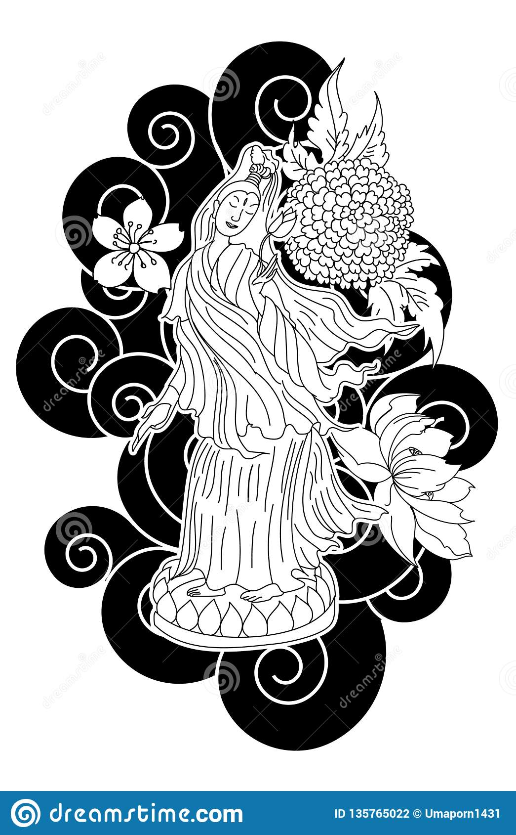 Guan Yin Women God Of Buddhism With Cherry Blossom Design For Traditional Tattoo Stock Vector Illustration Of Fruit Gold 135765022