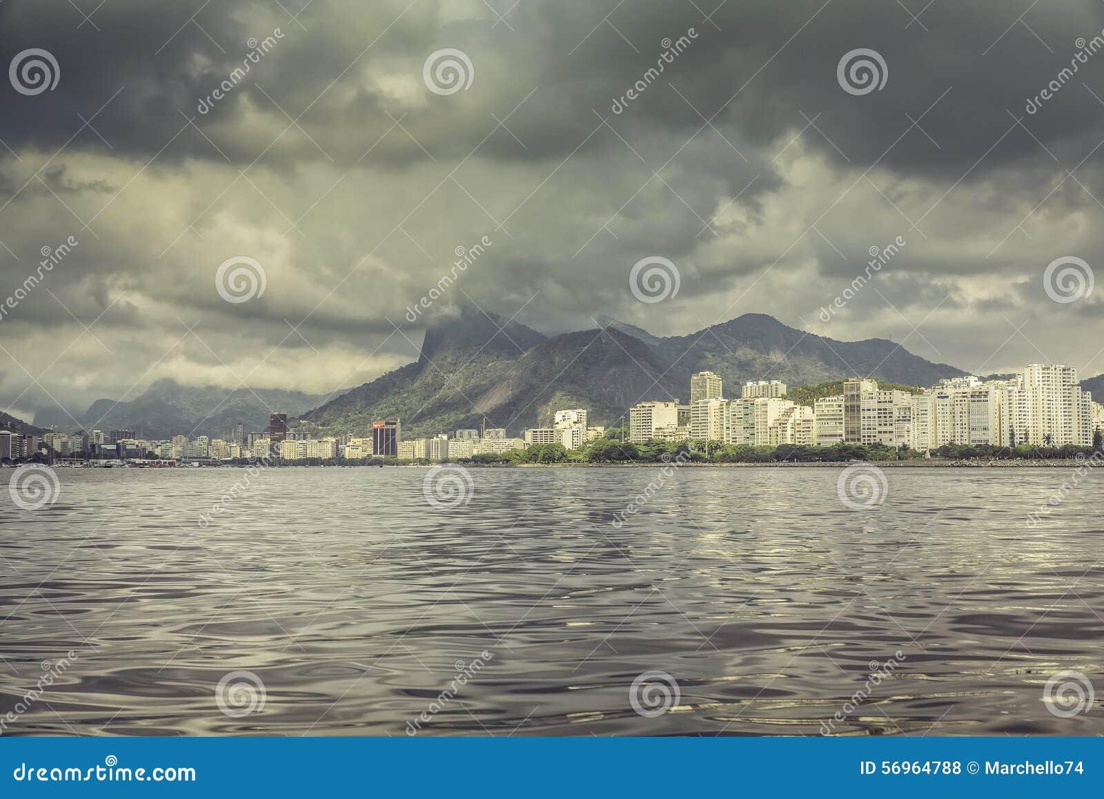 Guanabara Bay with dark clouds,Rio de Janeiro