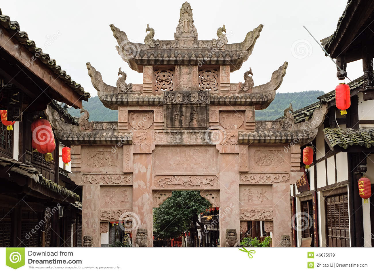 Guangyuan China  city photos : Guangyuan China Chastity Memorial Arch Editorial Stock Image Image ...