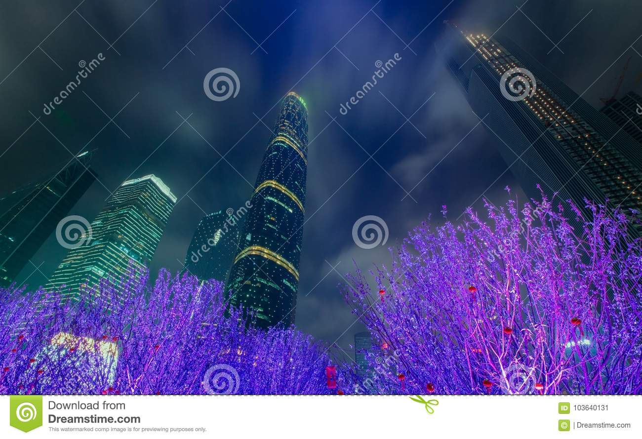 Guangzhou with bright lights