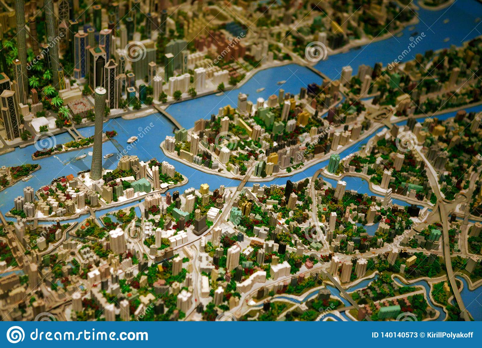 Guangzhou, China - July 11, 2018: Large-scale layout Architectural model of the city of Guangzhou.