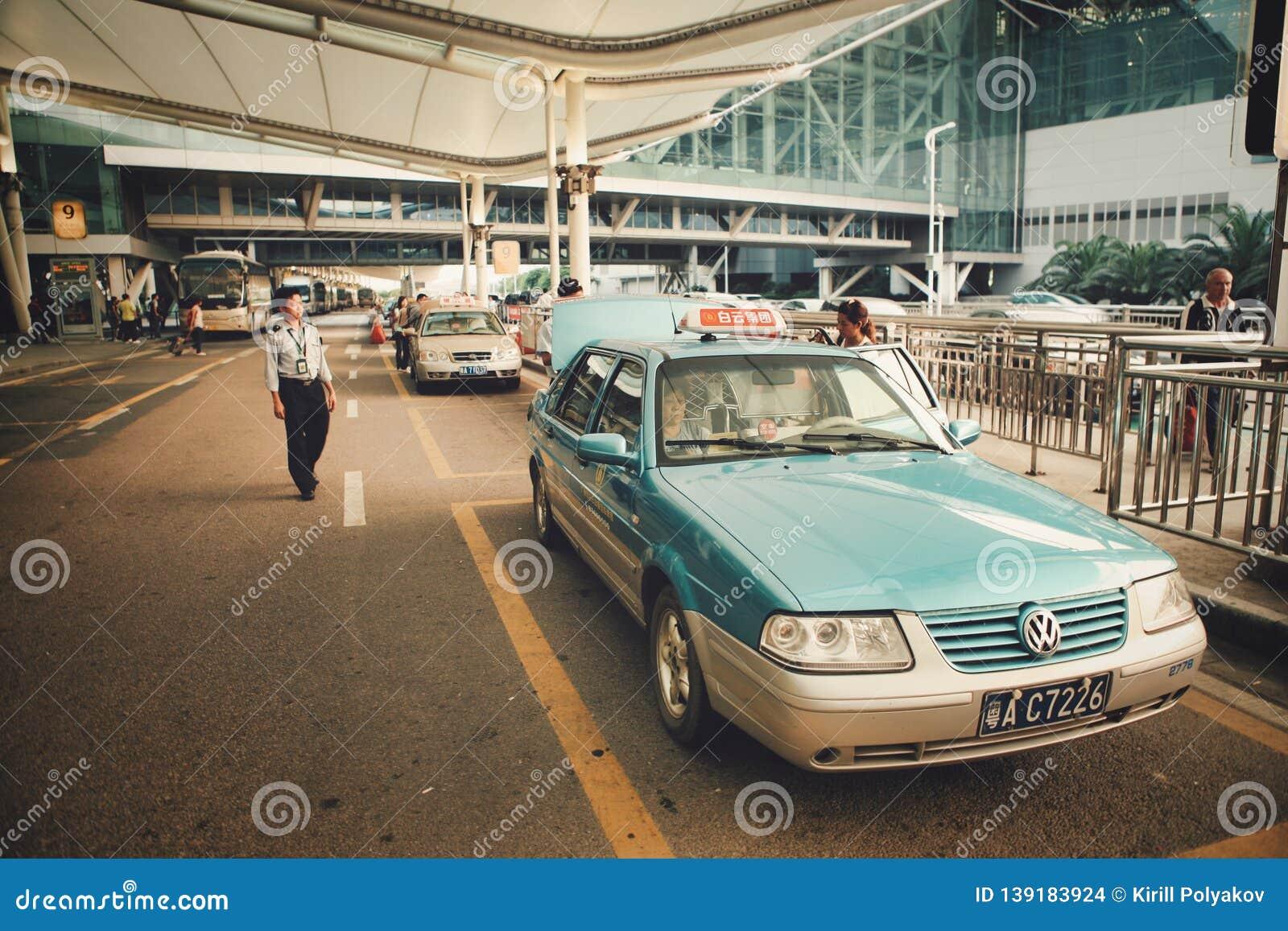 Guangzhou, China - June 25, 2018: Taxi waiting for customers at Guangzhou airport.