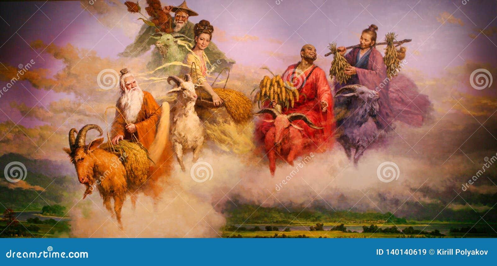 Guangzhou Chiny, Lipiec, - 10, 2018: Obraz pięć bogów które przychodzili puszek ziemia pomagać ludzi Guangzhou i karmić one - -