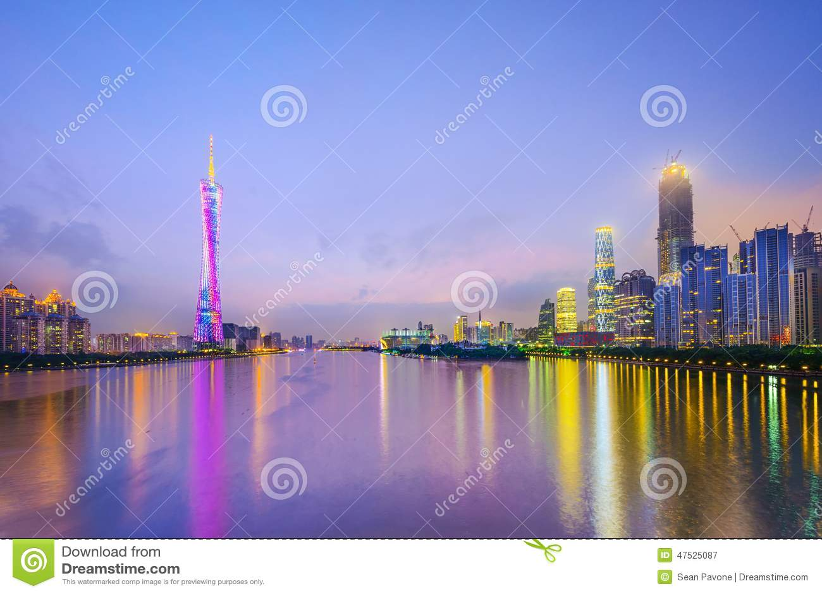 Guangzhou, de Stadshorizon van China