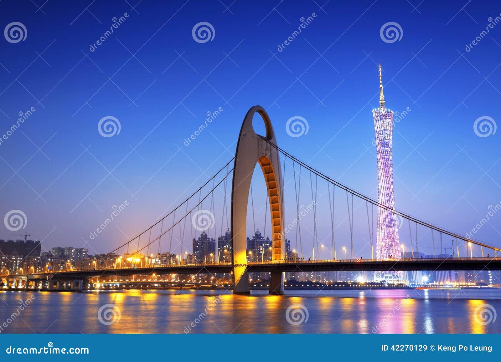 Guangzhou in het zonsondergangogenblik