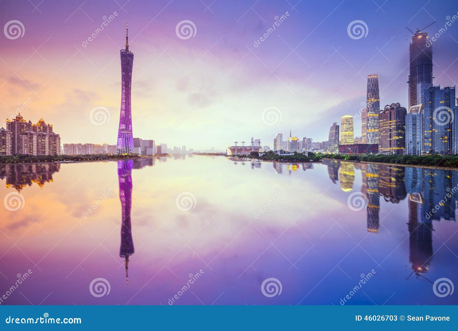 Guangzhou Kina stadshorisont