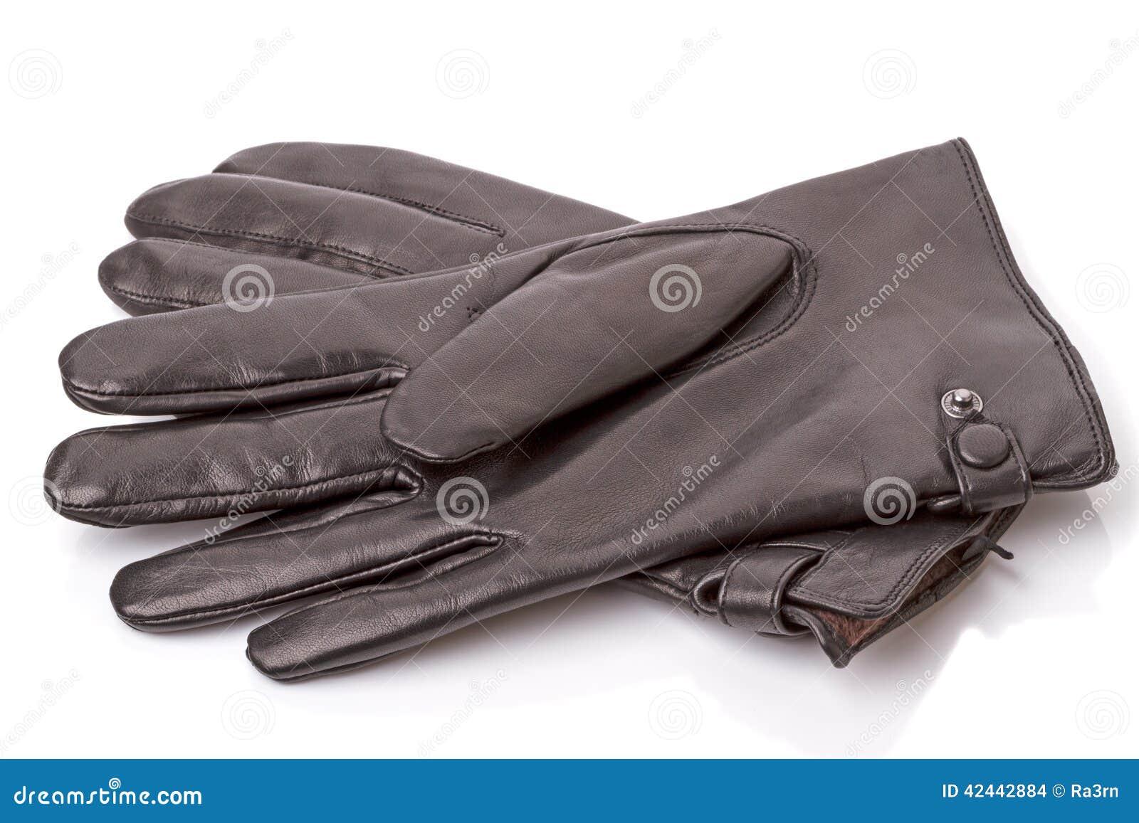 Guantes de cuero negros en blanco