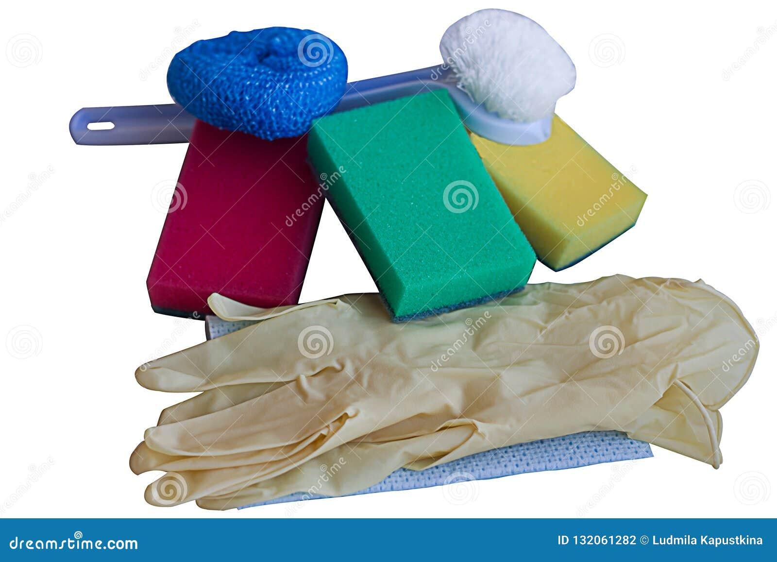 Guanti, combattente, spugne, accessori per lavare i piatti, isolati su bianco