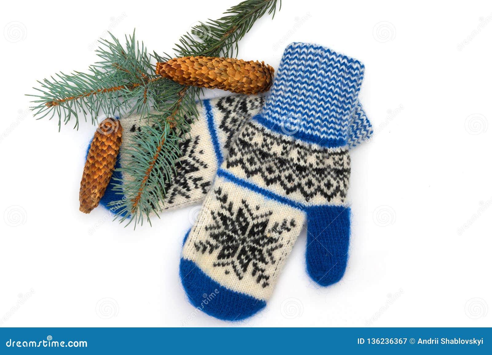 Guanti di Natale e ramo di un pino, sui precedenti bianchi isolati