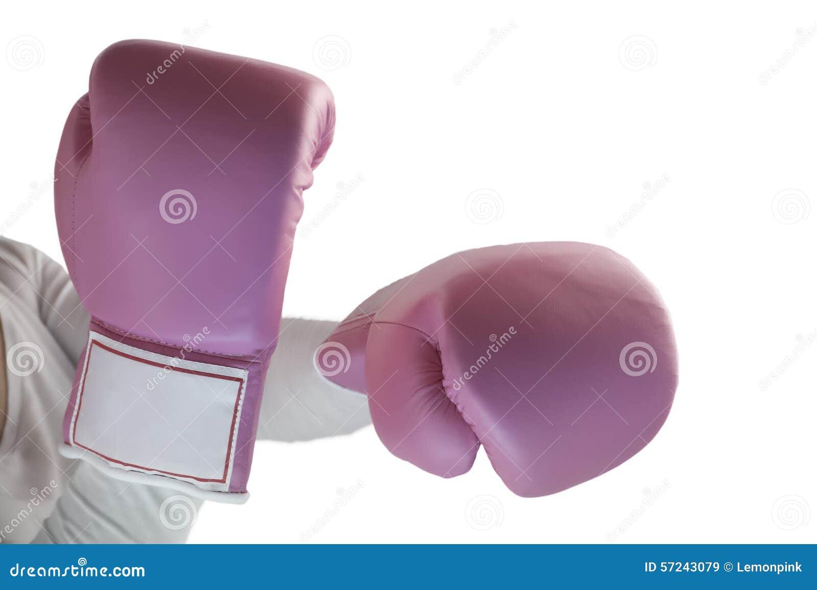 Guanti rosa della scatola