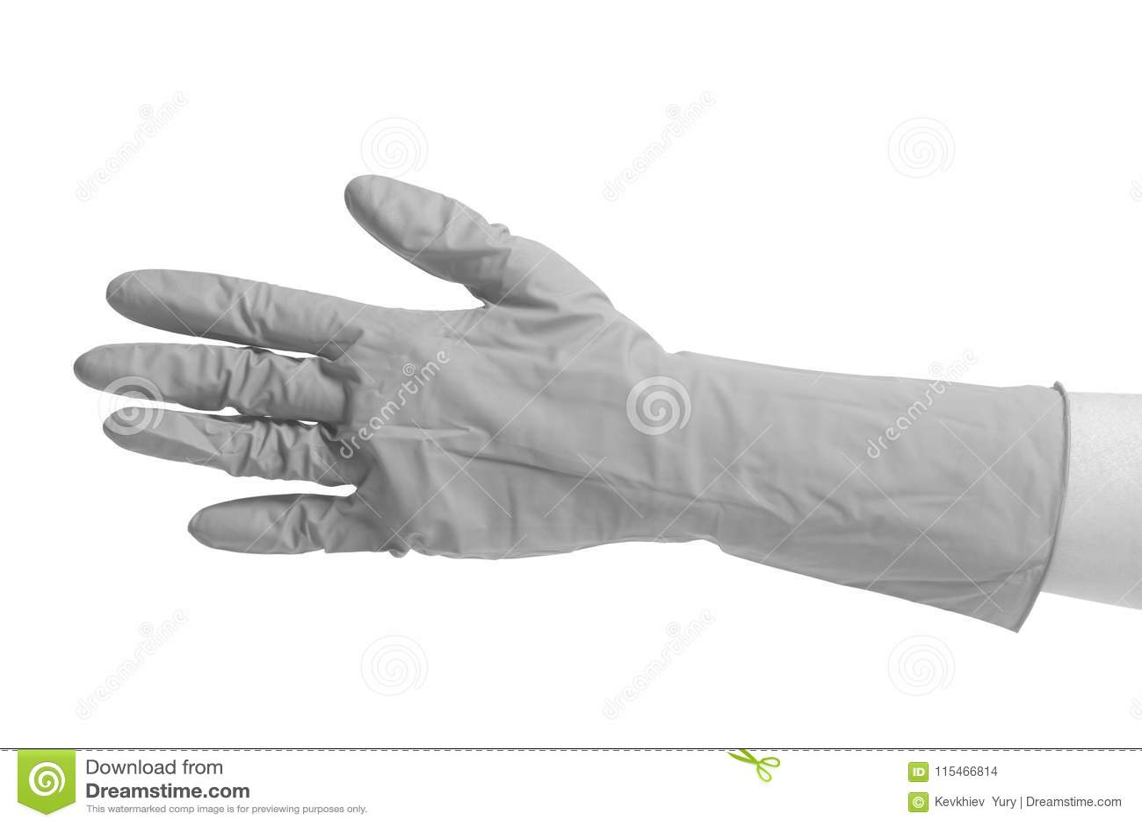 Guanto del lattice per la pulizia sulla mano femminile