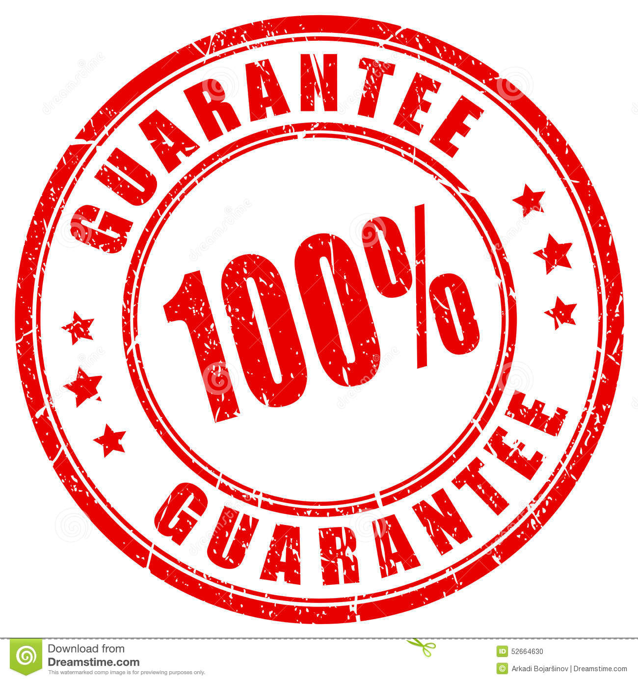100 guarantee stamp stock vector image 52664630