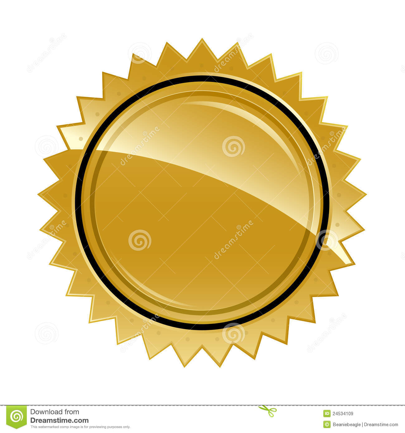 ... illustration of a gold guarantee sticker left blank for template use