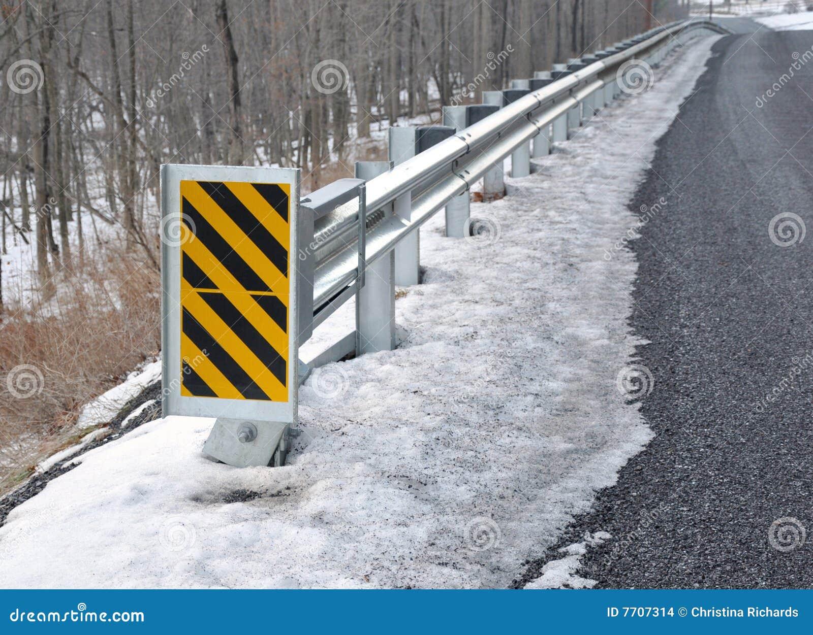 Guard Rail And Warning Sign Stock Photo Image 7707314