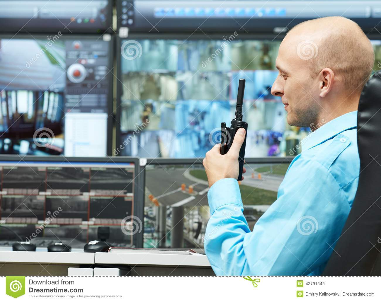Guard Of Security Video Surveillance Stock Photo Image