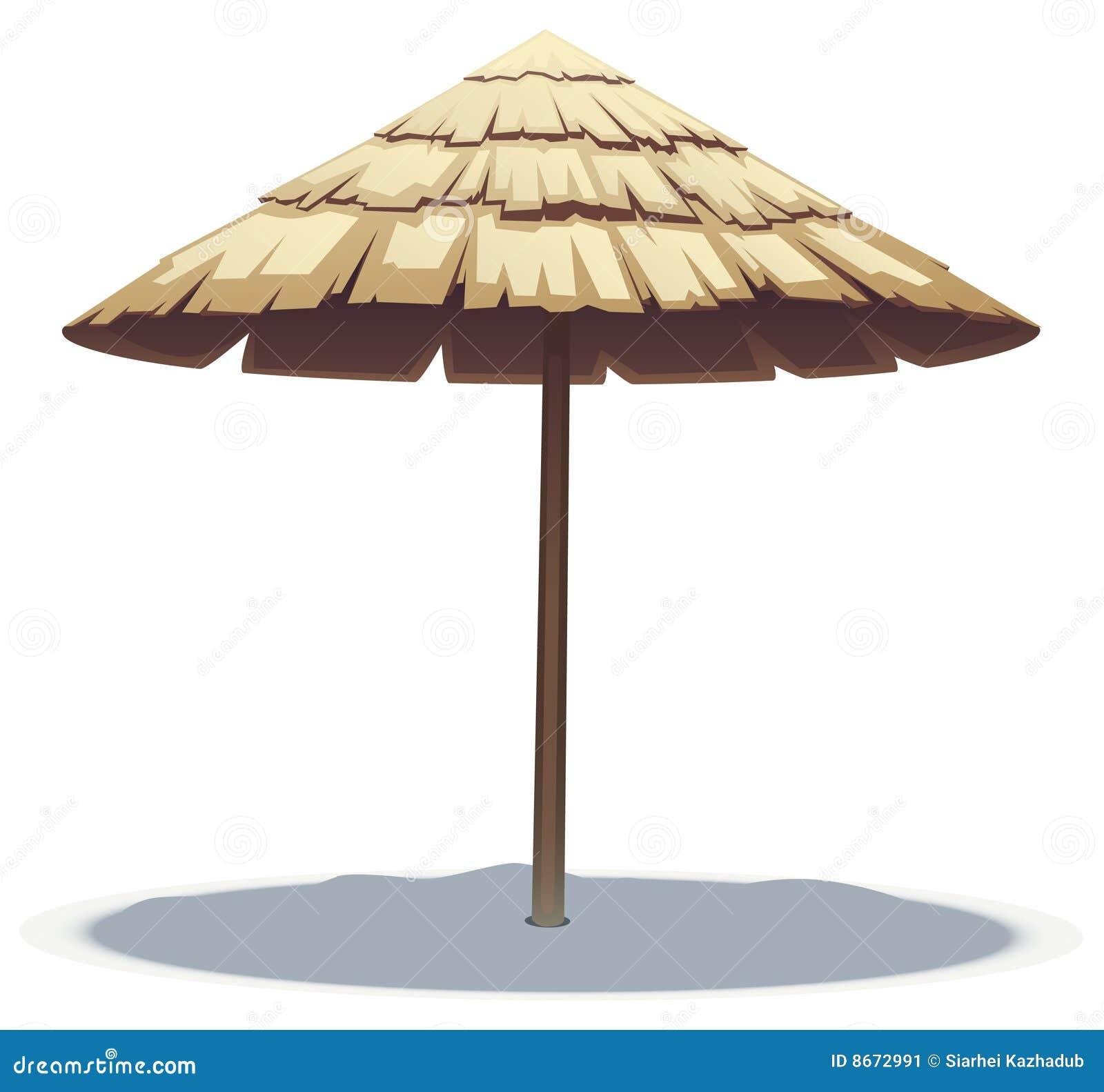 Guarda-chuva de praia em folha de palmeira